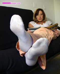 ladies relaxing in long white socks | Posted by blastmaster at 9:01 AM