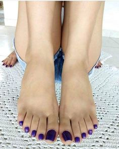 Image may contain: one or more people and closeup Pretty Toe Nails, Cute Toe Nails, Pretty Toes, Feet Soles, Women's Feet, Purple Toes, Long Toenails, Nice Toes, Feet Nails