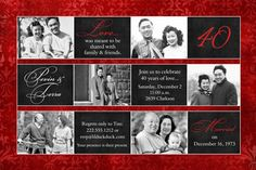 40th anniversary party ideas | Multi-Photo 40th Anniversary Invitation - Ruby Red Wedding Party