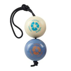"""The Orbee-Tuff RecycleBALL is It's RECYCLED. The two balls are made from """"regrind"""" quality Orbee-Tuff material that would otherwise be discarded) and are tied together with off-spec rope supplied by our Sterling Rope. The rope Dog Fetch Toy, Ball Launcher, Pet Steps, Interactive Dog Toys, Dog Information, Pet Paws, Recycle Plastic Bottles, Pet Gifts, Dog Friends"""
