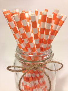 25 Orange Stripes paper straws // baby bridal shower by TamsCorner, $6.19