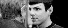 Leonard Nimoy and Zachary Quinto— look how precious these guys are. Star Trek Cast, Star Trek Spock, Star Trek Reboot, Stark Trek, Star Trek Movies, Leonard Nimoy, Star Wars Humor, Star Citizen, Love Stars