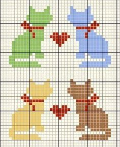 cat pattern for cross stitch, crochet or k nit -- Katter Mini Cross Stitch, Cross Stitch Cards, Cross Stitch Animals, Cat Cross Stitches, Cross Stitching, Cross Stitch Embroidery, Knitting Charts, Knitting Patterns, Cross Stitch Designs