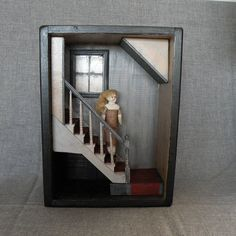 OOAK Curiosity Box, Shadow Box, Abandoned Room, Antique doll- On The Stair, Assemblage, Memento Mori