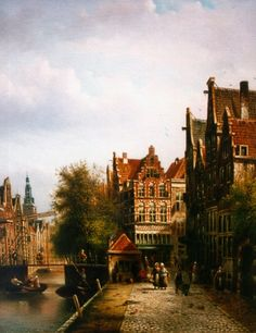 Johannes Franciscus Spohler (Rotterdam 1853-1894 Amsterdam) A canal in a Dutch town - Dutch Art Gallery Simonis and Buunk Ede, Netherlands.