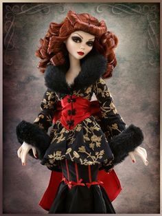 Beyond Sunset Coat   Wilde Imagination Separates are interchangeable between the resin, vinyl and hard plastic Evangelines!  This beautiful embroidered coat with faux fur collar and sleeves and corset belt is perfect for Evangeline.   Sold Out  Debut Date:  Spring 2010  Part of the Attic Collection, Too