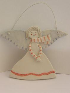 Ceramic Angel Cute  Angel Ornament  With Scarf by TatjanaCeramics, $7.00