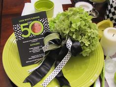 Kate's 50th Lime Green Black and White