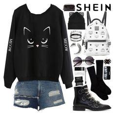 """SheIn Cat Print Sweatshirt!"" by nvoyce ❤ liked on Polyvore featuring River Island, Givenchy, MCM, Pendleton, Silver Spoon Attire, Thomas Sabo, ZeroUV, Gucci, Illamasqua and Lumene"