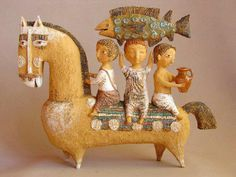 HORSE THREE RIDERS CARRYING FISH