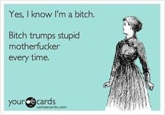 Yes, I know I'm a bitch. ecard