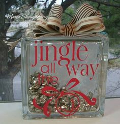 Jingle Bells Glass Block by Card Shark - Cards and Paper Crafts at ...