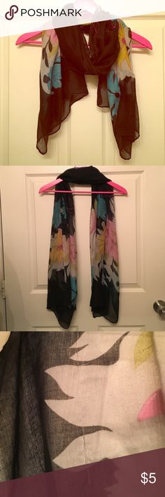 Flower Scarf Black scarf with colorful flowers on it              🔺100% polyester                                               🔺like new except for a little tear (3rd pic) Accessories Scarves & Wraps