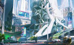 Landscape Concept, City Landscape, Fantasy Landscape, Futuristic City, Futuristic Architecture, Environment Concept Art, Environment Design, Sci Fi Wallpaper, Sci Fi City