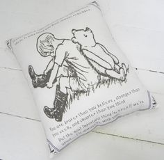 Winnie the Pooh Pillow Classic Image & Quote by TheSewingCroft