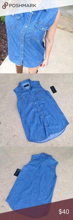 NWT Denim Sleeveless Tunic Dress Size M So cute! Boutique Tops Tunics