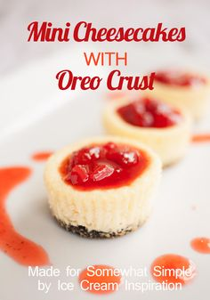 Mini Cheesecakes- an easy recipe using simple ingredients! Should make these for dessert tonight!