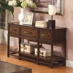 Have to have it. Riverside Tranquility Console Table - Candlelight Cherry - $434.25 @hayneedle