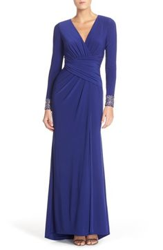 Free shipping and returns on Vince Camuto Embellished Sleeve Jersey Gown at Nordstrom.com. Sumptuous gathers wrap, define and flatter your waistline on this slinky jersey gown with fitted long sleeves bedecked in glitzy embellishments circling the cuffs.