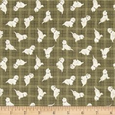 Lewis & Irene A Walk In The Glen Dog Toss Green from @fabricdotcom  Designed by Lewis and Irene, this cotton print fabric is perfect for quilting, apparel and home decor accents. Colors include olive, white, black and plum.