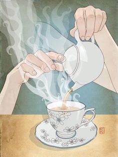 김이 모락모락따뜻한 온기 제대로 느껴지며 향긋한 차 한잔에 자연스레 릴렉스 ~~^^ 따뜻한 차 한잔 이왕이...
