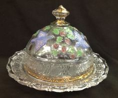 EAPG  BIRD AND STRAWBERRY PAINT DECORATED COVERED BUTTER DISH INDIANA GLASS 1914