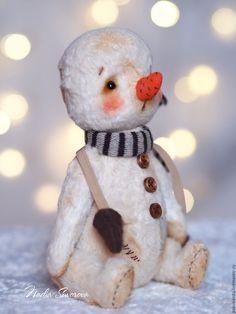 Купить Теплый снег - белый, снеговик, снеговик игрушка, снеговик тедди, подарок на новый год