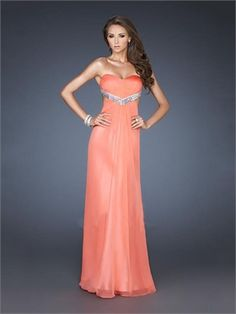 Strapless Sweetheart Beaded Low Back Chiffon Prom Dress PD2415