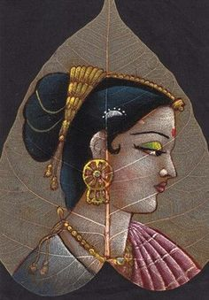 - Indian Artwork, Indian Folk Art, Indian Art Paintings, Leaf Paintings, Girl Paintings, Acrylic Paintings, Dry Leaf Art, Lotus Art, Art Village
