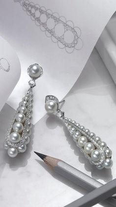 Chanel Jewelry, Luxury Jewelry, Modern Jewelry, Pearl Jewelry, Fine Jewelry, Diamond Earing, Jewellery Sketches, Ear Rings, Stone Earrings