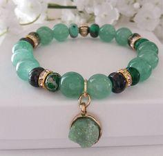 New Beginnings Green Handmade Beaded Gemstone Bracelet Set