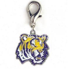 Louisiana State University Tigers Collar Charm ,Louisiana State University Tigers charm with lobster clasp ,tiger jewelry .
