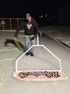 Home boni Zamboni for our backyard ice rink Could do this when flooding the ice for the time of the season? Outdoor Hockey Rink, Backyard Hockey Rink, Backyard Ice Rink, Ice Hockey Rink, Outdoor Skating Rink, Backyard House, House Yard, Hockey Drills, Hockey Room