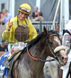 John Velazquez after winning the 144th Belmont Stakes on Union Rags... © 2012 Rick Samuels/The Blood-Horse