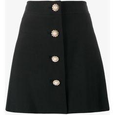 Miu Miu pearl and crystal embellished buttoned mini skirt