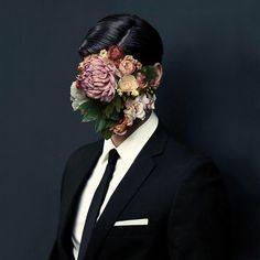 Flower Face Portrait Photography Art Contemporary Surrealism Collage No Face
