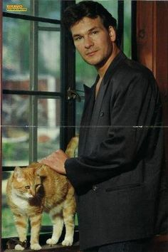 Two of my FAVES...Patrick Swayze and cats!!!