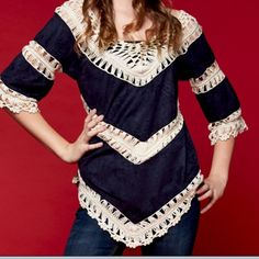3/4 sleeves, faux suede with crochet Navy top. Same as dark brown. Oversized navy faux suede with ivory crochet 3/4 sleeved top. Boho style. Dress up blue jeans. Reduced for last night's HP one day only. 10% off today! Tops