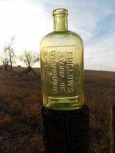 Antique Green Medicine Bottle Fellows Syrup
