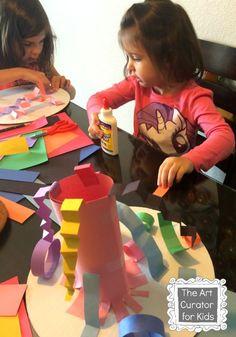 The Art Curator for Kids - Paper Sculptures inspired by Geometric MADI Art - Cultural Art for Kids, , MADI Art Project for Kids Sculpture Projects, Sculpture Art, Paper Sculptures, Paper Art Projects, Projects For Kids, Clay Projects, Kindergarten Art, Preschool Art, Kids Art Class