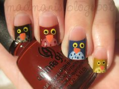 Owls Earthy Colours #nails, #fashion, #pinsland, https://apps.facebook.com/yangutu