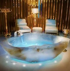 Who else wants to do their New Moon intentions in this tub!?! Oh, Did I mention it's made completely of #quartz crystal? Geology Wonders