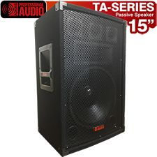 """Awesome speaker for Karaoke or the Mobile Disk Jockey. The TA-150 has a 15"""" woofer with a high tempered voice coil, a horn and 3 bullet tweeters. Power rating 1000 watts. This speaker has a professional carpet finish, steel corners and heavy duty handles. Inputs are dual 1/4"""" and binding post. Inputs are dual 1/4"""" and binding post."""