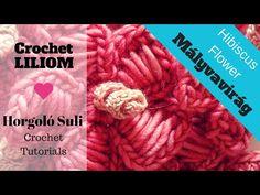 Mályvavirág Horgolási minta - Hibiscus Flower Crochet Tutorial with English subtitles Flower Crochet, Hibiscus Flowers, Crochet Videos, Learn To Crochet, Merino Wool Blanket, English, Learning, Facebook, Youtube