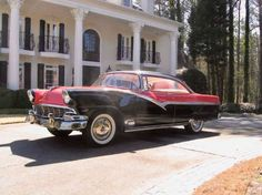 """1956 Ford Fairlane Victoria Tudor Hardtop """"For 1956, Ford brings you three important advances in fine-car motoring: new Thunderbird styling, new Thunderbird Y-8 power, and an exclusive new c..."""