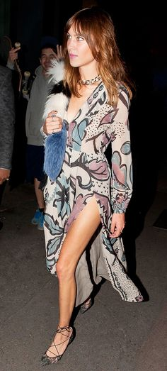 Alexa Chung wears a floral thigh-slit dress with lace-up pumps. // #Style #Inspiration