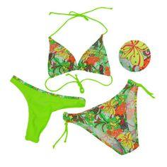 3 in 1 Thong Bikini grün Badeanzug