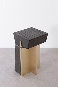 1614 Stool, 2014 Basalt, brass, textile. de natura fossilium-tables and stools - Formafantasma