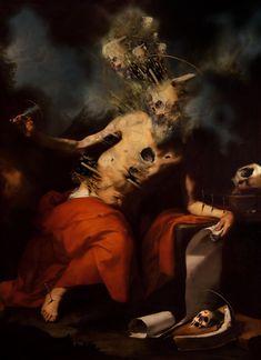 Buono by Ettore Aldo Del Vigo Arte Horror, Horror Art, Dark Art Paintings, Oil Paintings, Art Romantique, Rennaissance Art, Les Fables, Satanic Art, Baroque Art