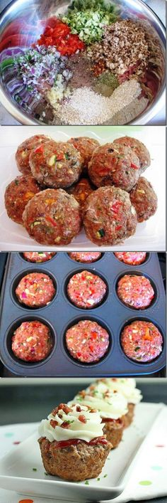 Meatloaf Cupcakes - can change up the type of meat and ingredients, even the mash... The possibilities are numerous.